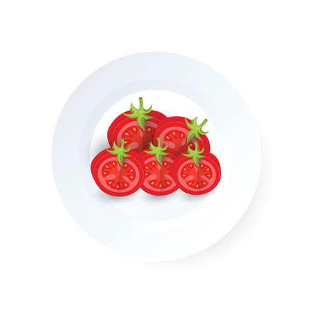 Creative sezieren Tomaten Icon Vektor auf einem Teller Standard-Bild - 75432453