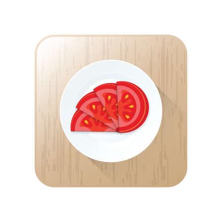 Geschnittene Tomaten-Symbol Vektor auf Schaltfläche Standard-Bild - 75373878