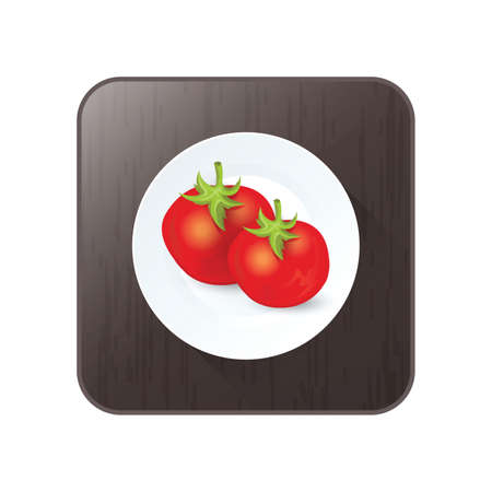 two tomato icon vector on button