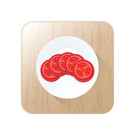Tomaten Geschnittene Ikone Vektor auf Knopf Standard-Bild - 75373879