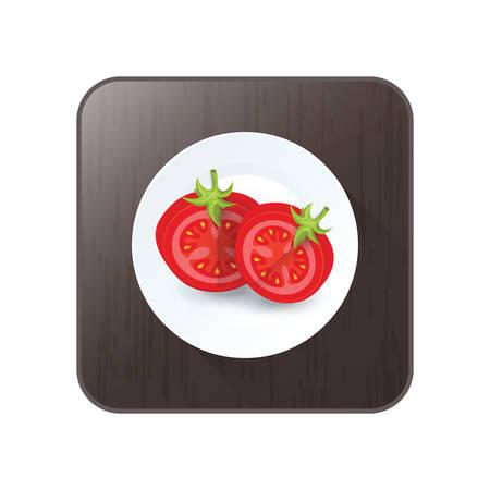 Tomatensymbol Vektor auf Schaltfläche zu sezieren Standard-Bild - 75431658