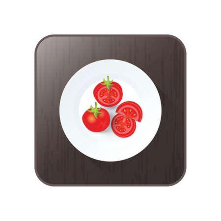 Tomaten-Symbol Vektor auf Schaltfläche Standard-Bild - 75324226
