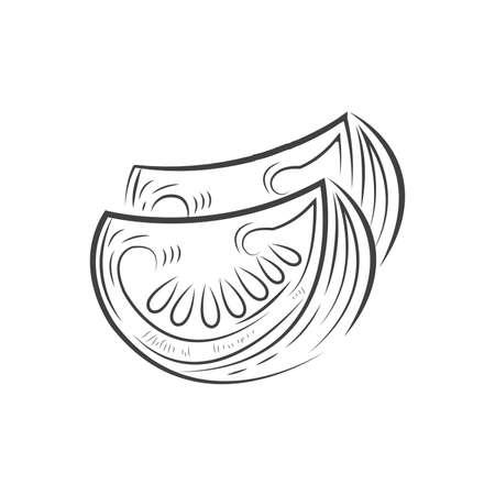 Cut half 2 Tomato vector drawing