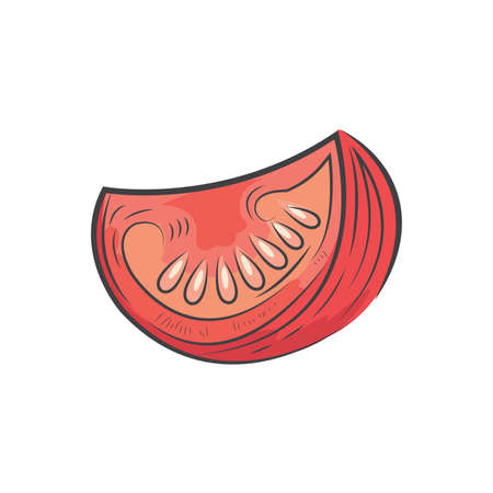 Sliced tomato icon and food vector watercolor Ilustrace