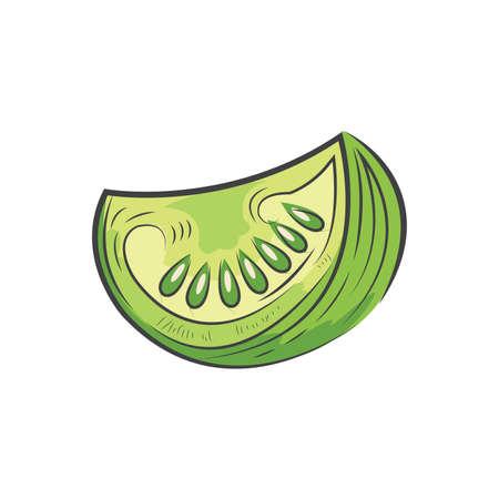 Grün geschnitten Tomaten-Symbol und Essen Vektor Aquarell Standard-Bild - 75610966