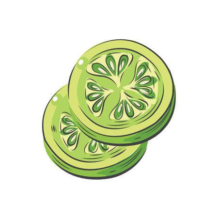 Grüne Tomaten in Scheiben geschnitten Vektor Zeichnung Aquarell Standard-Bild - 75432463