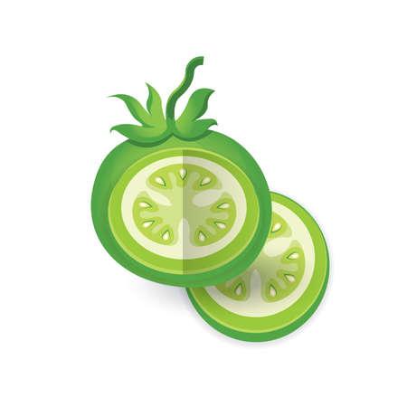 Green Tomato 3D Icon Vector