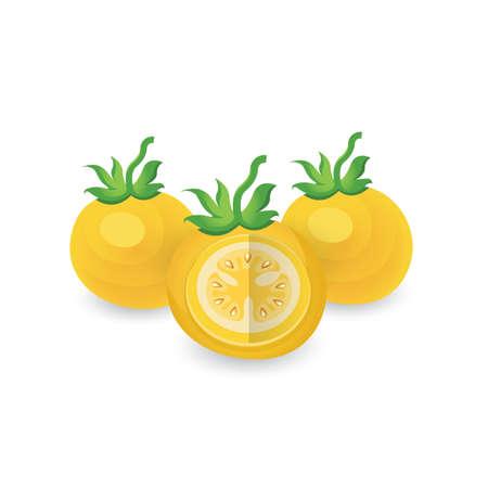 Tomate zergliedern gelbe Farbsymbol Standard-Bild - 75431650