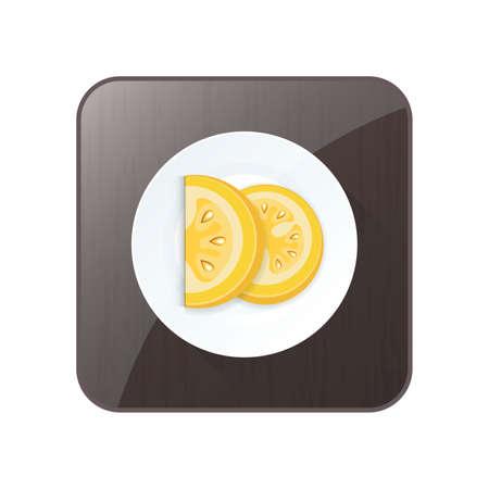 Geschnittene Tomate Gelb Farbe Symbol und Schaltfläche Standard-Bild - 75373880