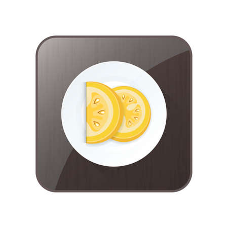 Sliced Tomato Yellow Color icon and button Ilustrace