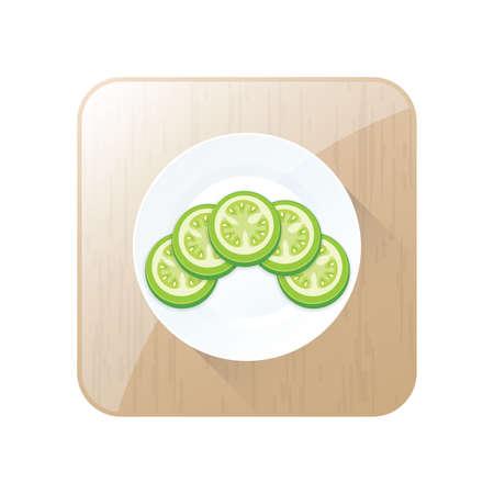Grüne Tomate 3D Icon Design und Taste Standard-Bild - 75432475