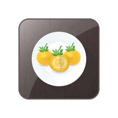Tomaten sezieren gelbe Farbe Symbol und Schaltfläche Standard-Bild - 75373885