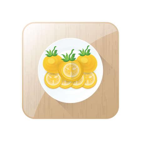 Tomaten-Sezieren Gelbe Farbe Icon-Set und Schaltfläche Standard-Bild - 75431661