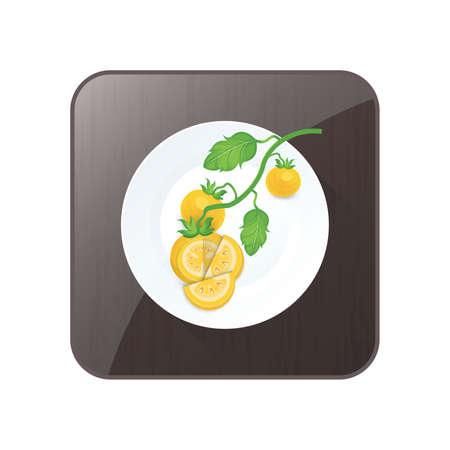 Tomate Gelb Farbe Symbol und Schaltfläche Standard-Bild - 75373887