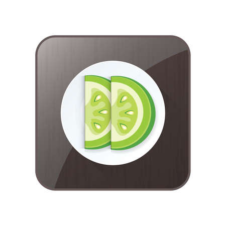 Sliced Green Tomato 3D Icon  and button Ilustrace