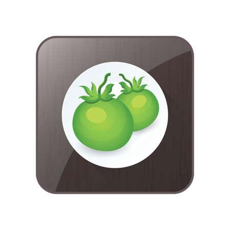 Grüne zwei Tomate 3D Icon und Button Standard-Bild - 75431663