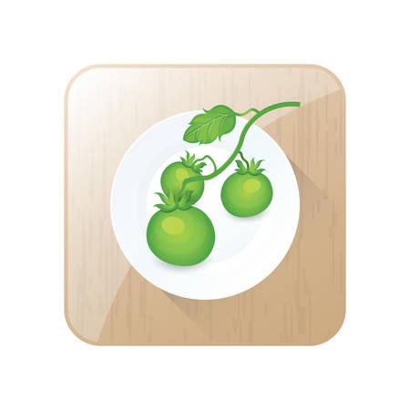 Grüne Tomate 3D-Symbol und Schaltfläche Standard-Bild - 75324224