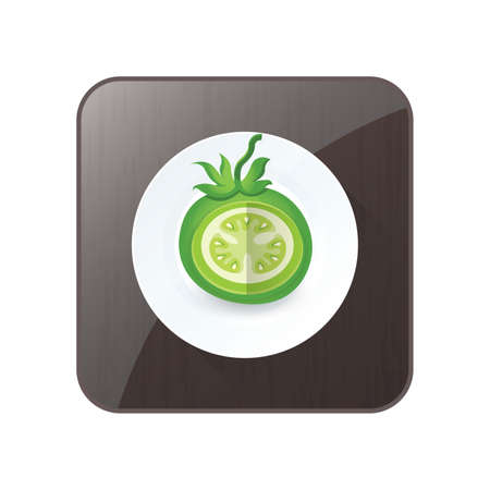 dissect: dissect Green Tomato 3D Icon  and button
