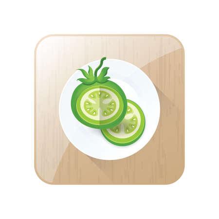 Grüne Tomate 3D Icon Vektor und Schaltfläche Standard-Bild - 75373888