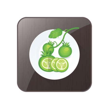 Set von grünen Tomato 3D Icon und Schaltfläche Standard-Bild - 75431664