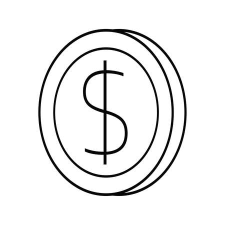 Thin line Style Simple icon coin symbol vector