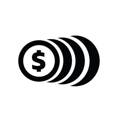 Simple icon coin symbol vector black style Ilustração