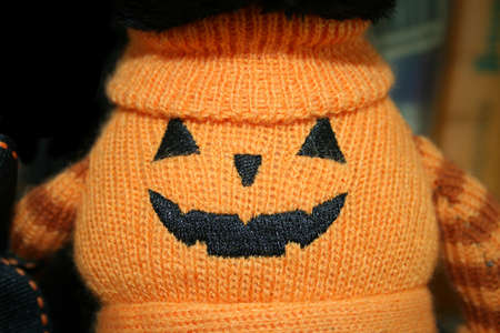 jack o latern: Halloween pumpkin made of woolen material Stock Photo