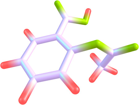 analgesic: A molecular model of the analgesic Aspirin. Isolated on white. Stock Photo