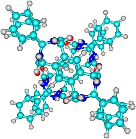 Tennis ball molecular structure on white photo