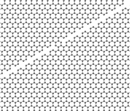 Graphene sheet divided into two parts with a bridge on a white background photo