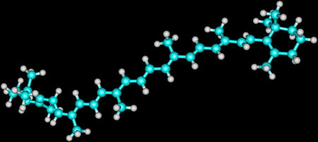 carotene: Structural model of beta carotene molecule on black
