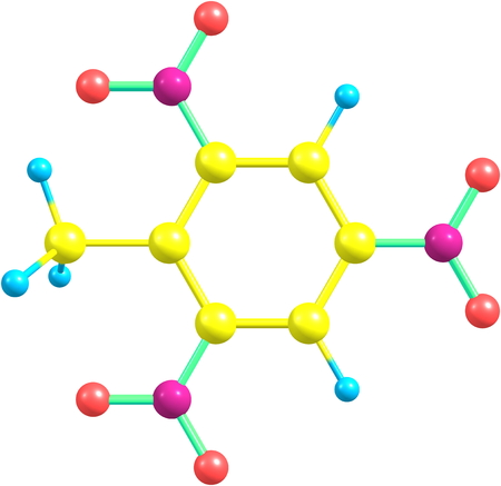Trinitrotoluene or TNT is known as a useful explosive material with convenient handling properties photo