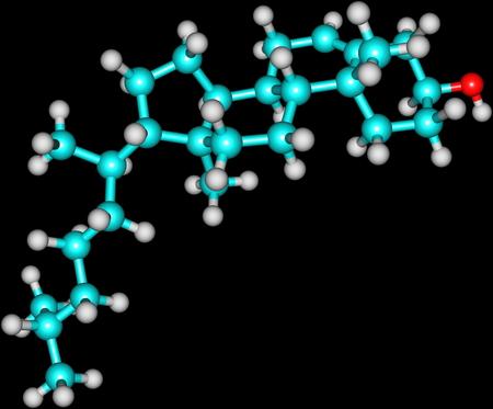 コレステロールは、人間の生活に不可欠ですが、心血管疾患にも関与しているステロイドの分子のモデル。黒に分離されました。 写真素材