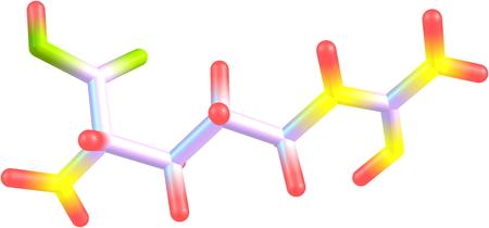 Ein Modell einer Aminosäure Arginin. Arginin ist eine wichtige Funktion im Immunsystem, Wundheilung und Zellteilung. Standard-Bild - 25631952