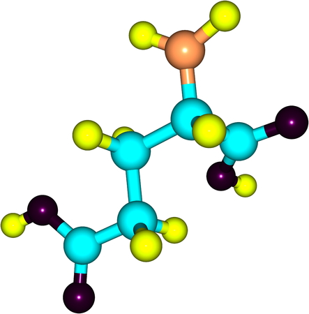 A model of Glutamic Acid, an amino acid  It has an important function in cell metabolism and neurotransmission  photo