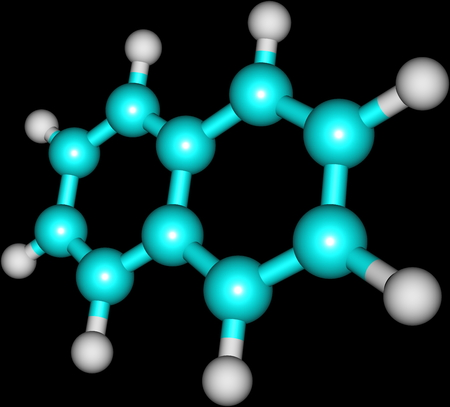 Naphthalene is an organic compound with formula C10H8  It is the simplest polycyclic aromatic hydrocarbon, and is a white crystalline solid with a characteristic odor Stock Photo