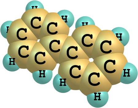 hydrocarbon: Biphenyl (or diphenyl) is an organic compound that forms colorless crystals. It has a distinctively pleasant smell. Stock Photo