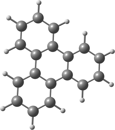 Organic compound triphenylene is a flat polycyclic aromatic hydrocarbon  PAH  consisting of four fused benzene rings  Triphenylene can be isolated from coal tar  Isolated on white background  photo