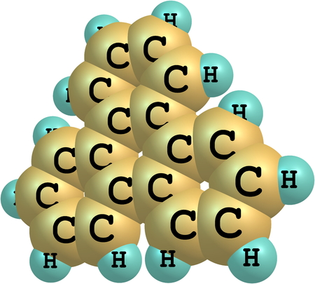 fused: Organic compound triphenylene is a flat polycyclic aromatic hydrocarbon (PAH) consisting of four fused benzene rings.