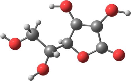 白ビタミン C 分離として知られているアスコルビン酸の構造モデル