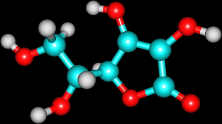 Structural model of Ascorbic Acid, known as Vitamin C  Isolated on black   photo