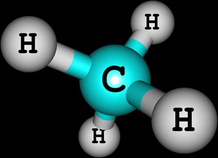 Methan-Molekül auf schwarz Standard-Bild - 25632353