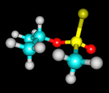 Sarin, or GB, is an organophosphorus compound  It is a colorless, odorless liquid, used as a chemical weapon owing to its extreme potency as a nerve agent Stock Photo