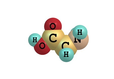 Glycine is an organic compound with the formula NH2CH2COOH. Glycine is the smallest of the 20 amino acids commonly found in proteins. Stock Photo
