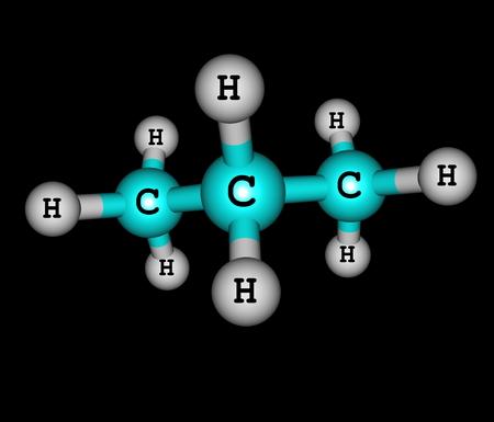 quimica organica: El propano es un alcano de tres carbonos con la f�rmula molecular C3H8, normalmente un gas, pero compresible a un l�quido transportable en fondo negro