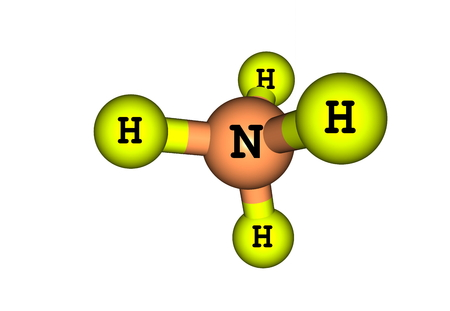 ammonium: The ammonium cation is a positively charged polyatomic ion with the chemical formula NH4+. It is formed by the protonation of ammonia (NH3) Stock Photo