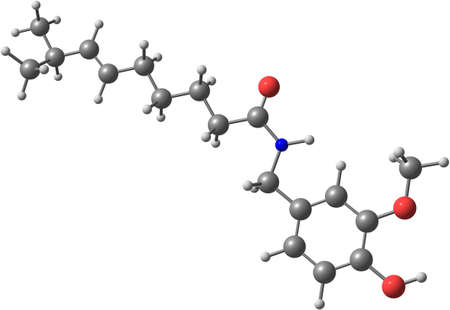 capsaicin: Capsaicin molecular structure Stock Photo