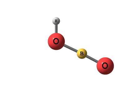 inorganic: Metaboric acid is the name for a family of inorganic compounds formed by the dehydration of boric acid. These are colourless solids with the empirical formula HBO2. Stock Photo