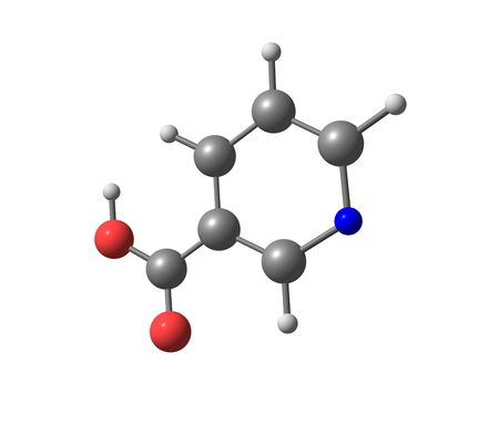 amide: Niacin (B3 or nicotinic acid) is an organic compound with the formula C6H5NO2. Stock Photo