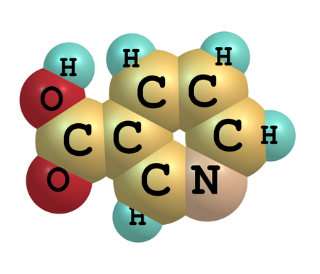 Niacin (B3 or nicotinic acid) is an organic compound with the formula C6H5NO2. photo
